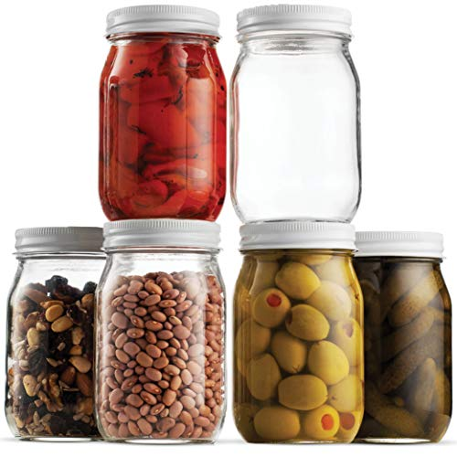 Glass Mason Jar 16 Ounce (1 Pint) - 6 Pack - Regular Mouth - Finedine | The Best And Beyond