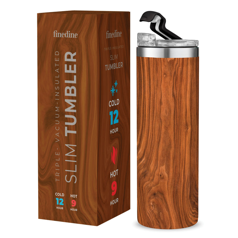 Wood Stainless Steel 18 Oz. Water Bottle with Flip Top Lid; Vacuum Insulated Tumbler, Hot 'n Cold
