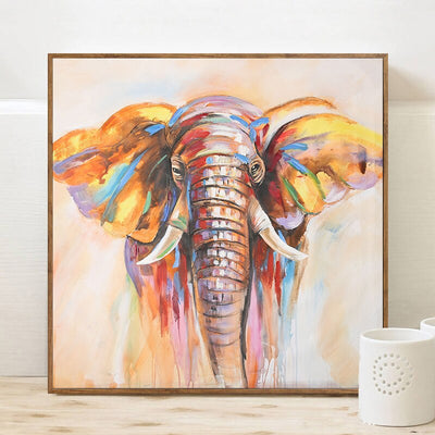 Toile elephant couleur art contemporain