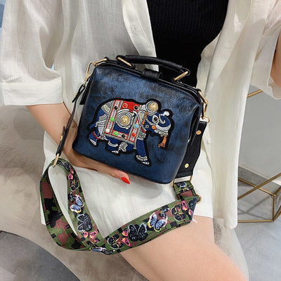 Sac a main satchel elephant couleur bleue