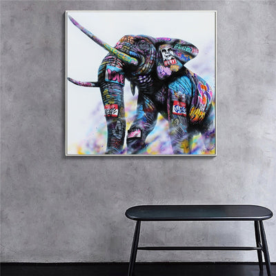 Peinture elephant graffitis sur un mur simple