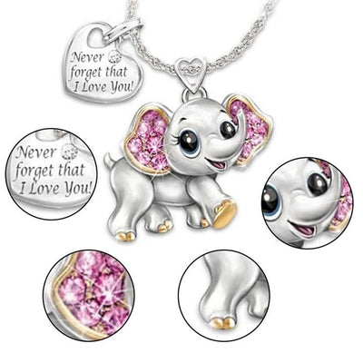"Collier elephant coeur message ""I love you"""