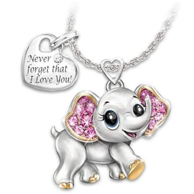 Collier elephant coeur metal