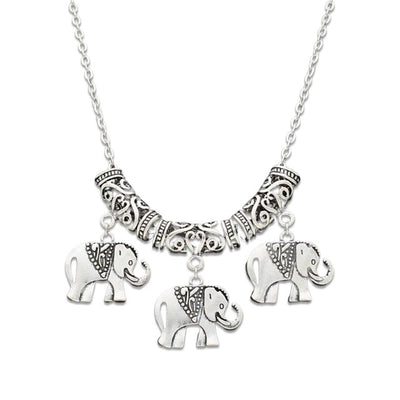 Collier elephant sautoir en metal