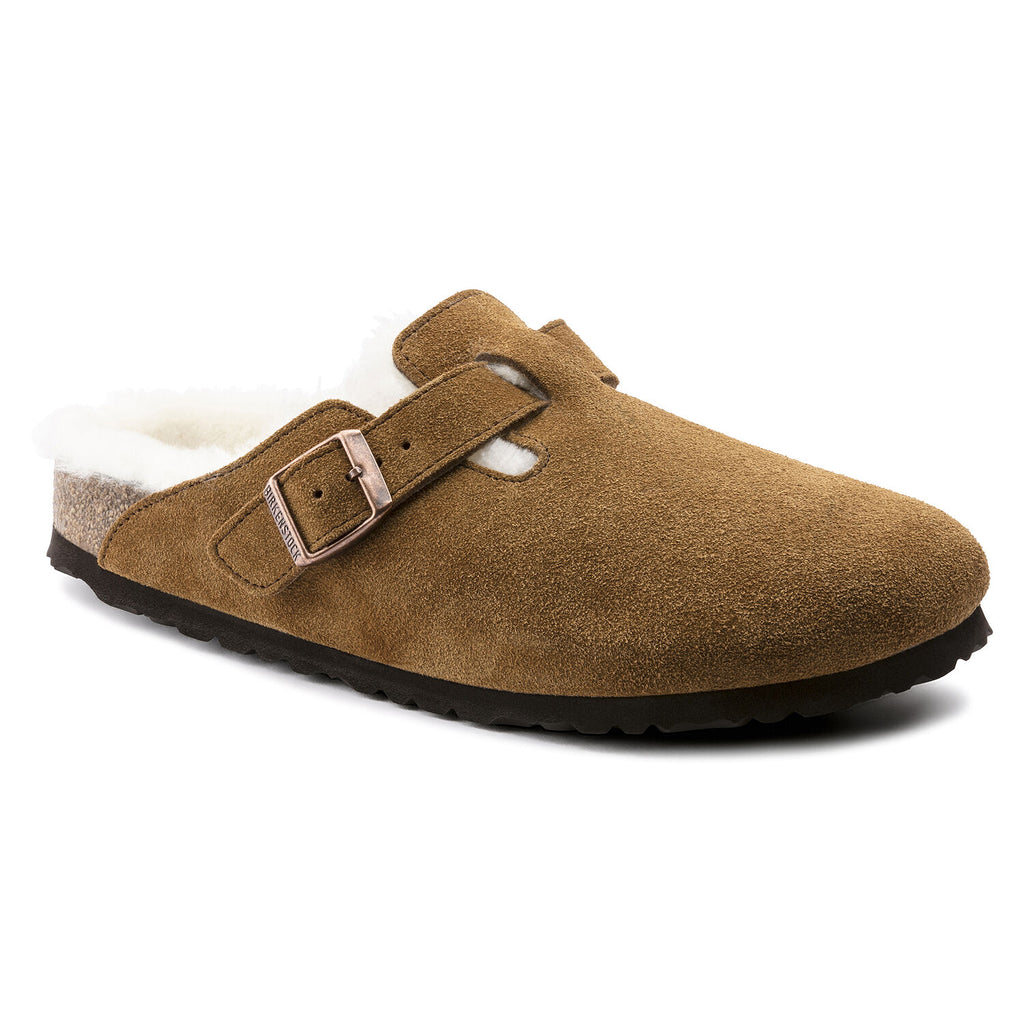 Unisex Boston Shearling Suede Leather Clog