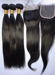 3 Queen's Brazilian Straight virgin hair bundles with Closure