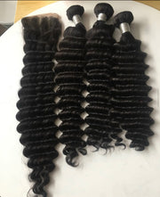 Brazilian Deep Wave remy human hair extensions with Closure