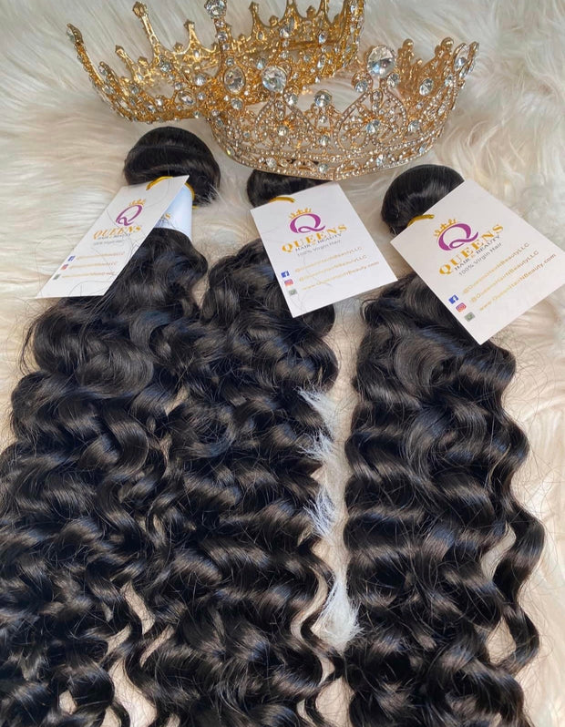 3 Queen's Brazilian Water Wave virgin hair Bundles