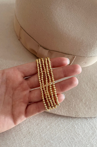 NEW 3mm Gold Bead Bracelet