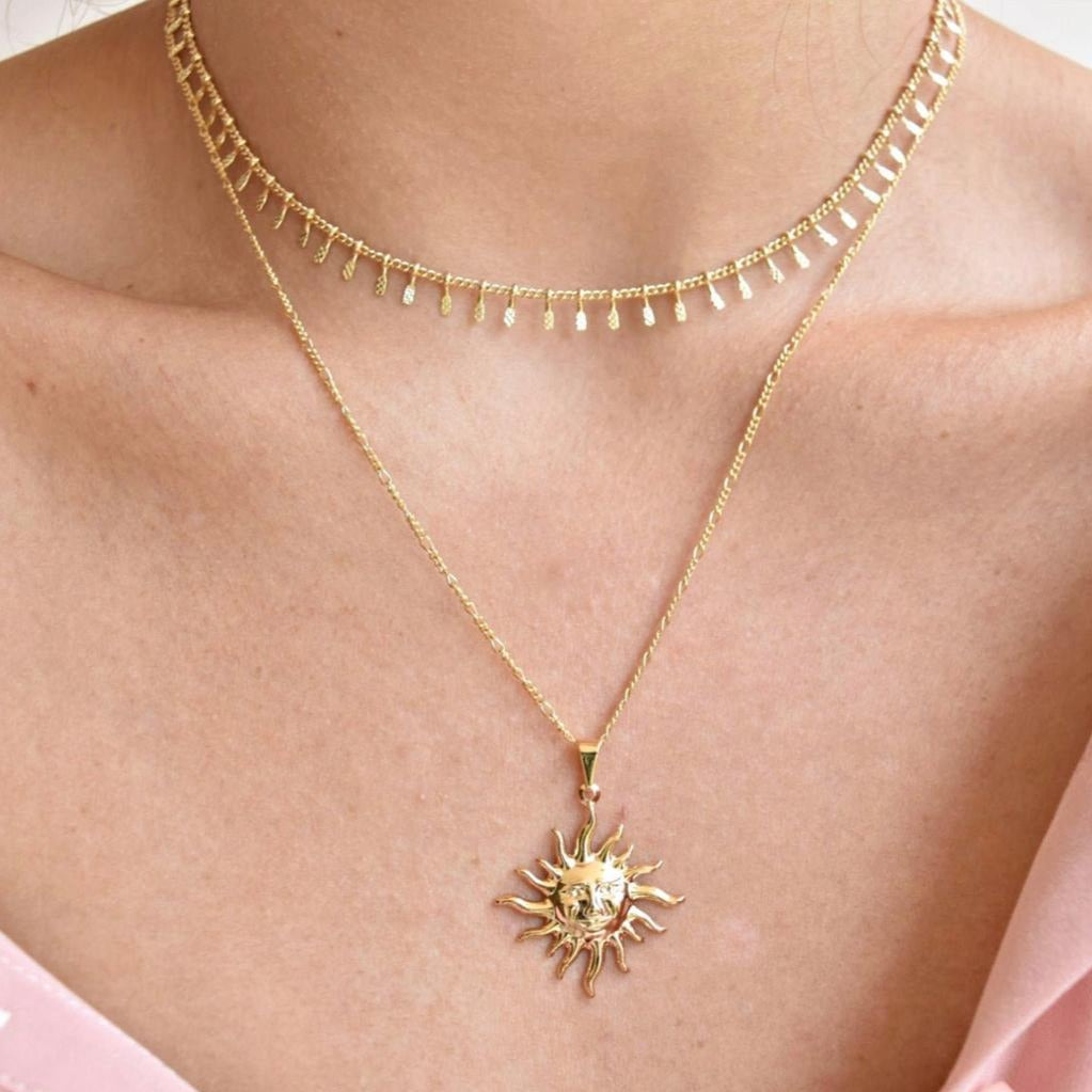Dainty Gold Sun Necklace