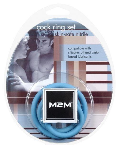 M2m Nitrile Cock Ring - Pack Of 3 Dark Blue