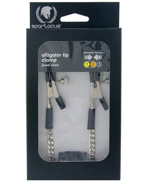 Spartacus Adjustable Alligator Nipple Clamps W-silver Chain