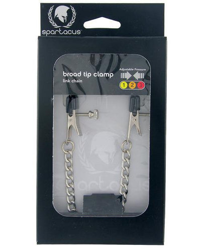 Spartacus Adjustable Broad Tip Nipple Clamps W-link Chain
