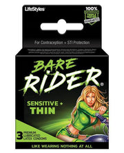 Contempo Bare Rider Thin Condom Pack - Pack Of 3 - SEXYEONE