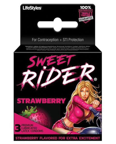 Contempo Sweet Rider Condoms - Strawberry Pack Of 3