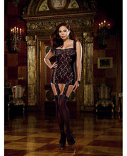 Lace Garter Dress W-stretch Trim Straps, Satin Ribbon Back & Attached Stockings Blk Qn