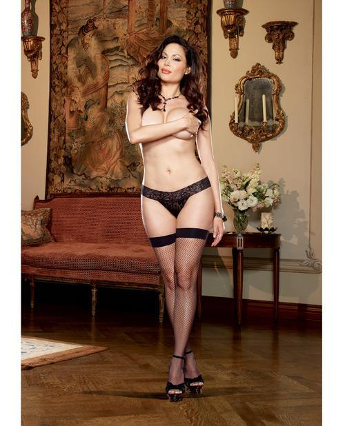 Plain Top Fishnet Thigh High W/back Seam & Bow Trim - SEXYEONE