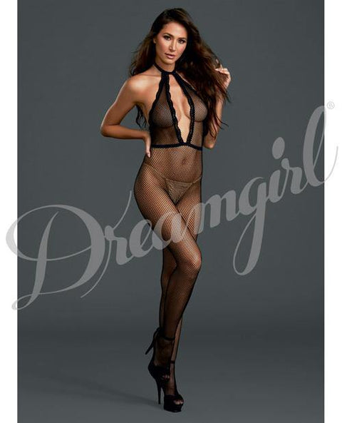 Fishnet Halter Bodystocking Black O-s