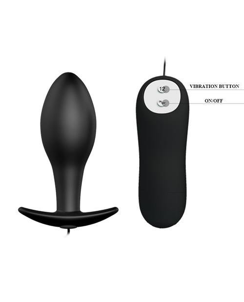 Pretty Love Vibrating Bulb Shaped Butt Plug - Black