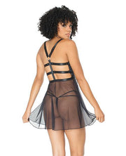 Double Slit Sheer Babydoll W-cage Detail Back & G-string Black O-s