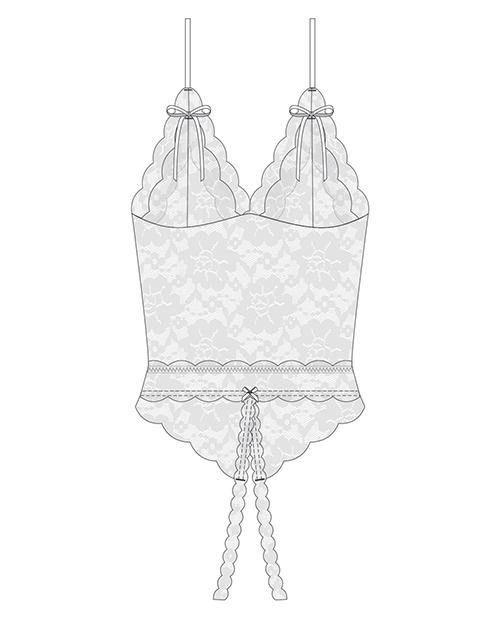 Stretch & Scallop Lace Crotchless Teddy White O-s
