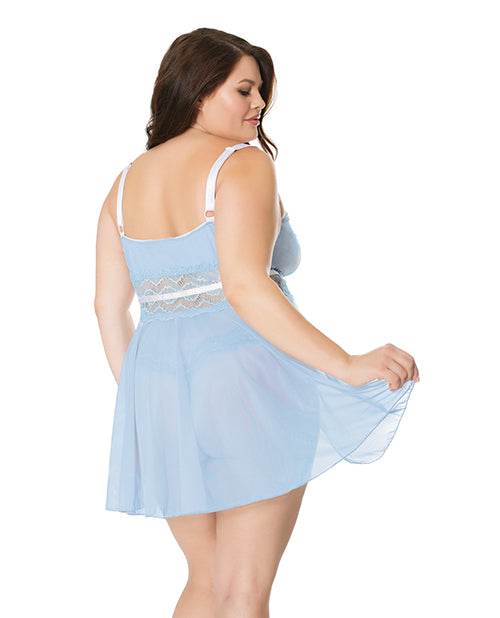 Scallop Stretch Lace & Mesh Babydoll & Thong Light Blue/white