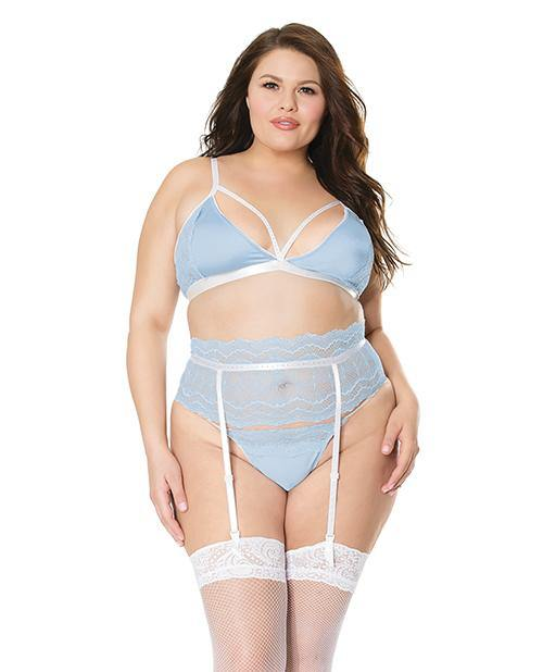 Scallop Stretch Lace Bra, Garter Belt & G-string Light Blue/white