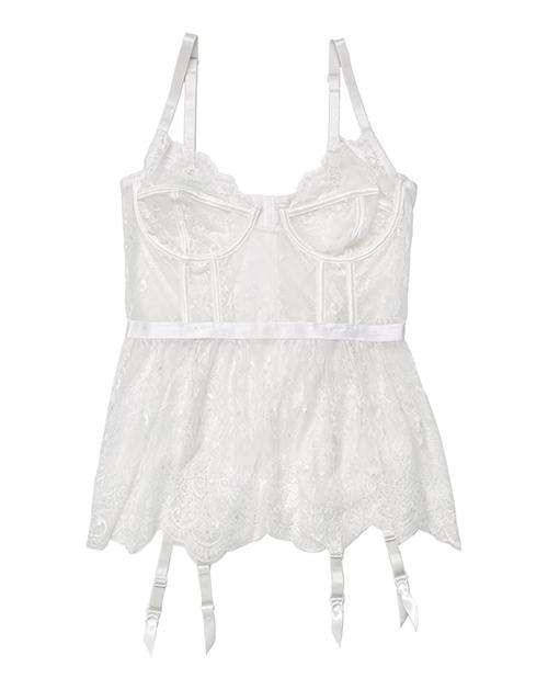 Lace & Powernet Underwire Cups Peplum Bustier White