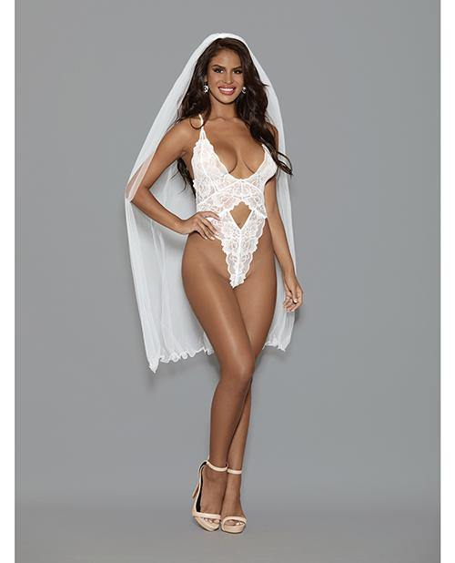 Euphoria Open Crotch Bridal Teddy W-long Veil White O-s
