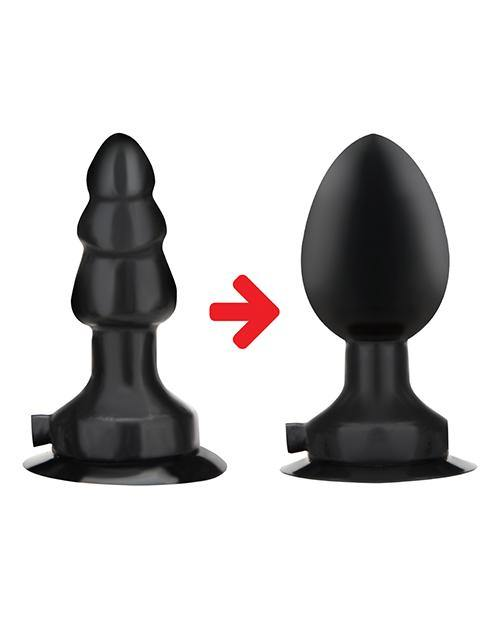"Lux Fetish 4"" Inflatable Vibrating Butt Plug W-suction Base - Black"