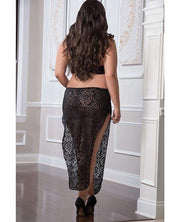 Shoulder Baring Laced Night Dress Black Qn - SEXYEONE