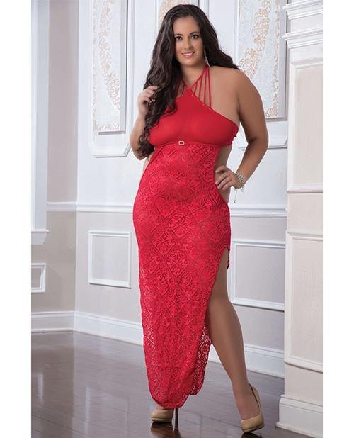 Shoulder Baring Laced Night Dress Red Qn - SEXYEONE