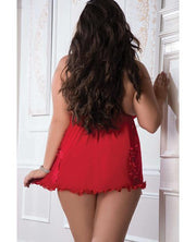 Sheer Open Front Babydoll Candy Red Qn