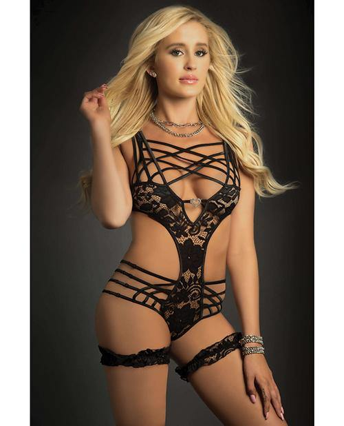 Caged Teddy & Lace Garters Black O-s