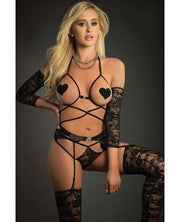 Web Garter Teddy W-open Cups, Laced Sleeves, Pasties & Stockings Black O-s