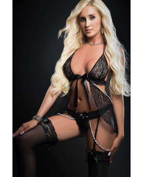 Cut Out Open Front Flyaway Babydoll W/pearl Chains & Garter Panty O/s