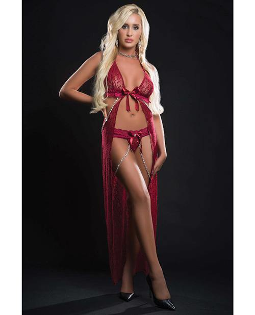 Cut Out Open Front Flyaway Night Gown W/pearl Chains & Panty O/s