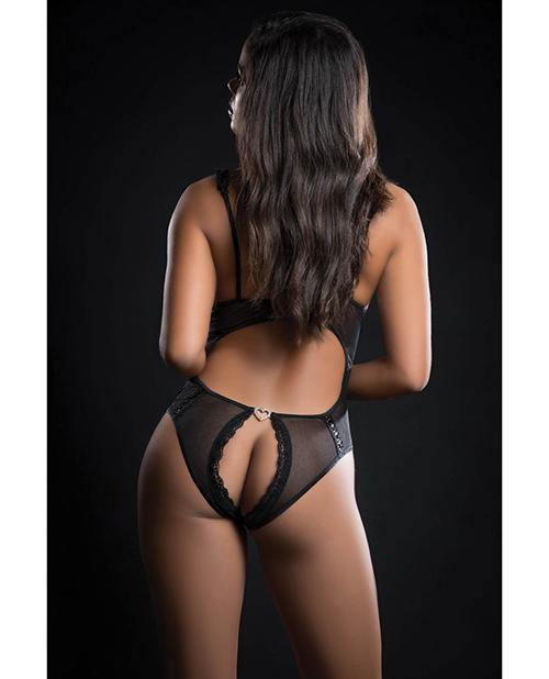 Open Cups Laced Teddy W-open Rear View Black O-s