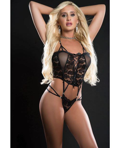 Butterfly Teddy W/lace Up Front & Thong O/s