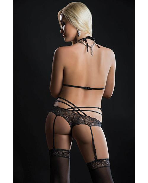 Lace Teddy W/garter & Stockings O/s