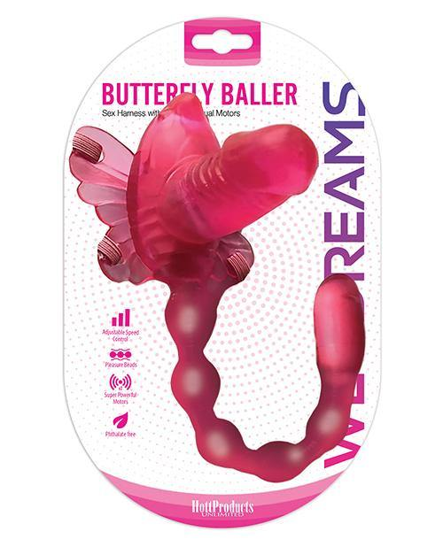 Wet Dreams Butterfly Baller Sex Harness W-dildo - Pink