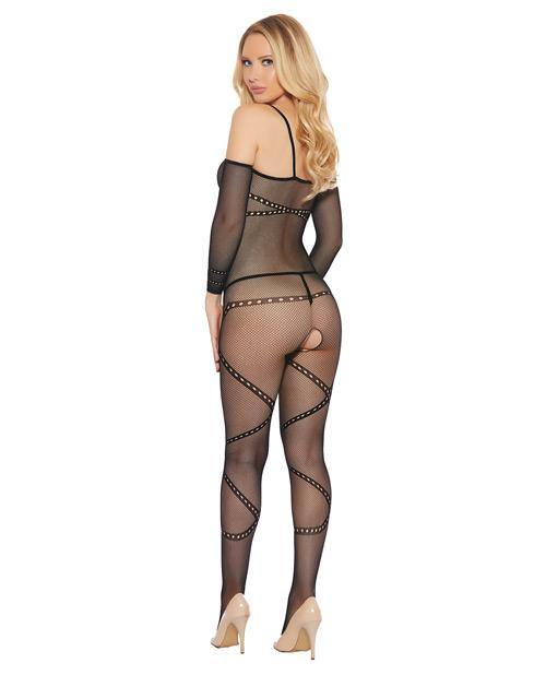 Crotchless, Fishnet, Printed Spaghetti Strap Bodystocking Black O-s
