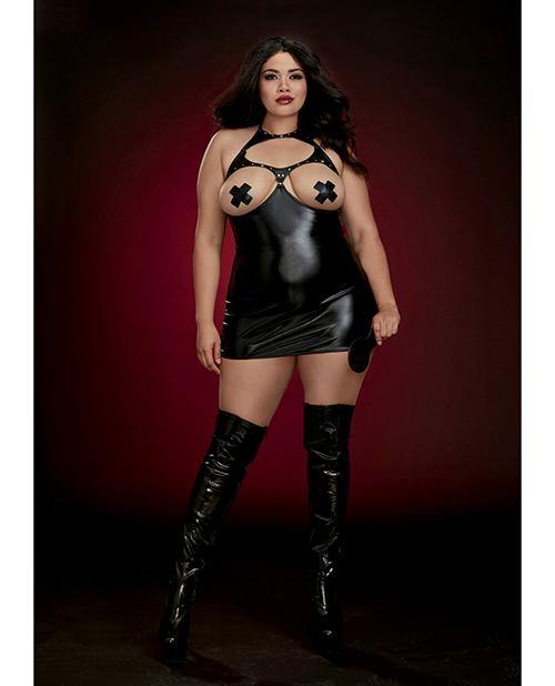 Fetish Stretch Faux Leather Boob Out Chemise & Paddle Black