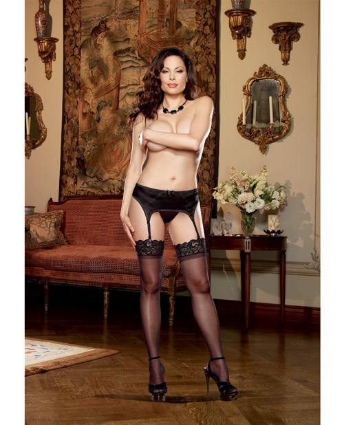 Satin Front Garter Belt & Mesh Back & Adjustable Garter Straps Black Qn - SEXYEONE