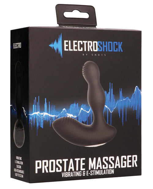 Shots Electroshock E-stimulation Vibrating Prostate Massager - Black - SEXYEONE