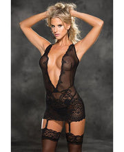 Stretch Lace Patterned Gartered Chemise & G-string Black