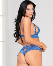 Lace Bra & Open Crotch Panty W-lace Up Back Blue O-s