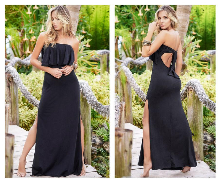 Removable and Adjustable Straps Long Dress