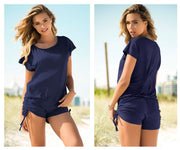 Loose Fit Romper with Drawstring on the Sides
