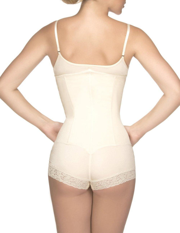 Megane Open Bust Bodysuit w/ Lace Trim